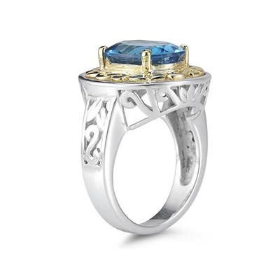 4.45ct.Oval Shape Blue Topaz Ring in Yellow Gold and Silver
