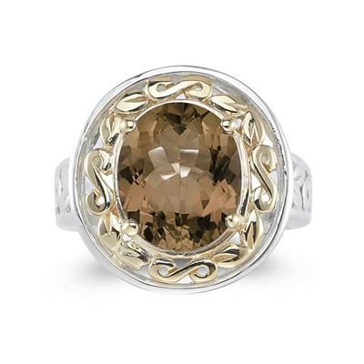 4.45ct.Oval Shape Smokey Quartz Ring in Yellow Gold and Silver
