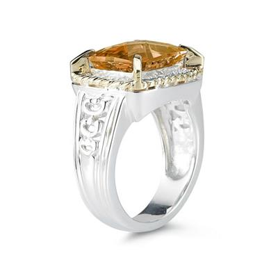 Emerald Cut Citrine and Diamond Ring in 14K Yellow Gold and Silver