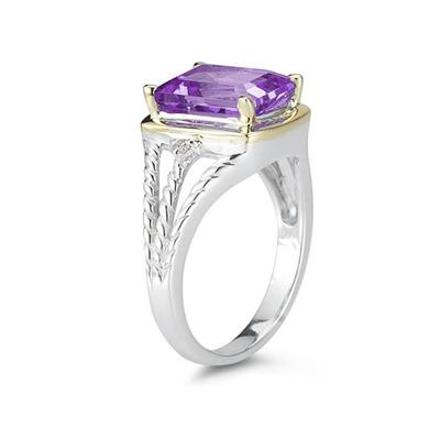 4.5ct Amethyst And Diamond Ring in 14K Yellow Gold And Silver