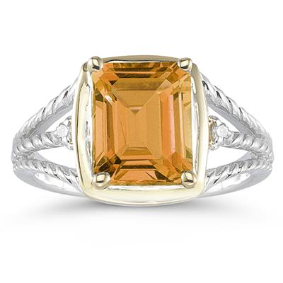 4.5ct Citrine And Diamond Ring in 14K Yellow Gold And Silver