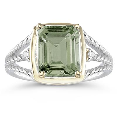 4.5ct Green Amethyst And Diamond Ring in 14K Yellow Gold And Silver