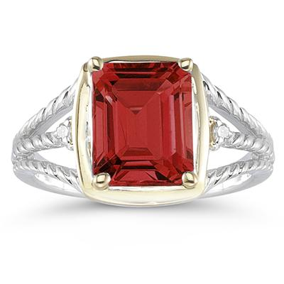 4.5ct Garnet And Diamond Ring in 14K Yellow Gold And Silver