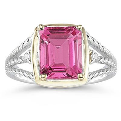4.5ct Pink Topaz And Diamond Ring in 14K Yellow Gold And Silver