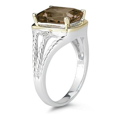 4.5ct Smokey Quartz And Diamond Ring in 14K Yellow Gold And Silver
