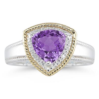 Trillion Cut Amethyst and Diamond Ring in 14K Yellow Gold and Silver