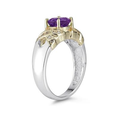 1.3ct Amethyst And Diamond Ring in 14K Yellow Gold And Silver