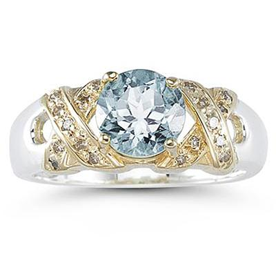 1.3ct Aquamarine And Diamond Ring in 14K Yellow Gold And Silver
