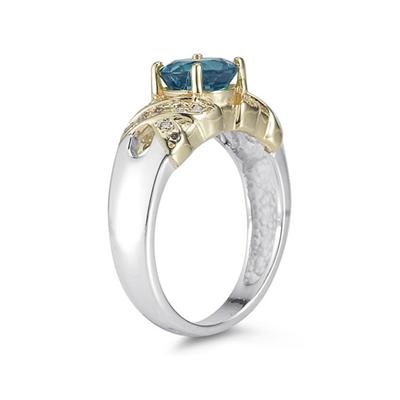 1.3ct Blue Topaz And Diamond Ring in 14K Yellow Gold And Silver