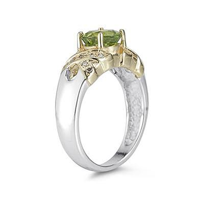 1.3ct Peridot And Diamond Ring in 14K Yellow Gold And Silver