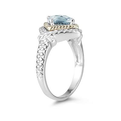 1.5ct Aquamarine Ring in 14K Yellow Gold And Silver