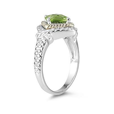 1.5ct Peridot Ring in 14K Yellow Gold And Silver