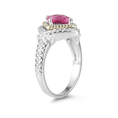 1.5ct Pink Topaz Ring in 14K Yellow Gold And Silver