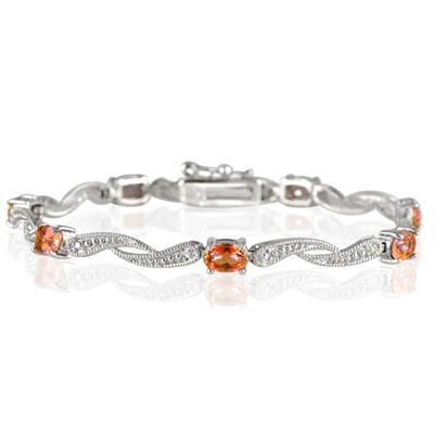4.00 Carat Orange Cognac and Diamond Bracelet in .925 Sterling Silver