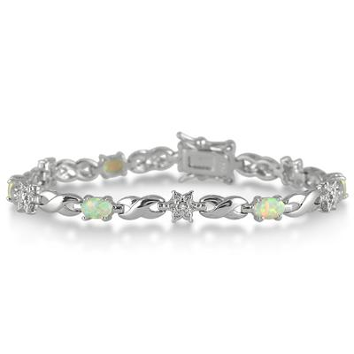 Created Opal and Genuine Diamond Bracelet in .925 Sterling Silver