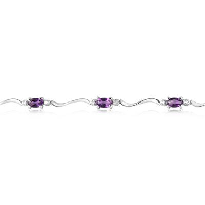 1.75 Carat Amethyst and Diamond Bracelet in .925 Sterling Silver