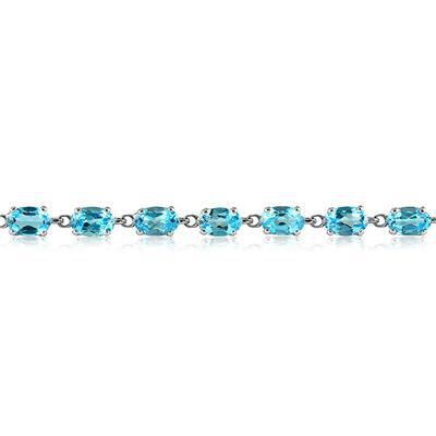 10 1/2 Carat Oval Blue Topaz Bracelet in 10K White Gold