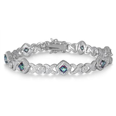 1.00 Carat Mystic Topaz and Diamond Bracelet in .925 Sterling Silver