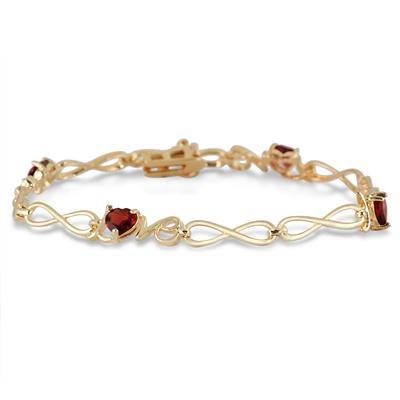 2.00 Carat Trillion Shape Garnet Love Bracelet in 18K Gold Plated Brass