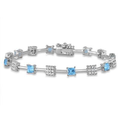 3.20 Carat Princess Shape Blue Topaz and Diamond Bracelet in Rhodium Plated Brass