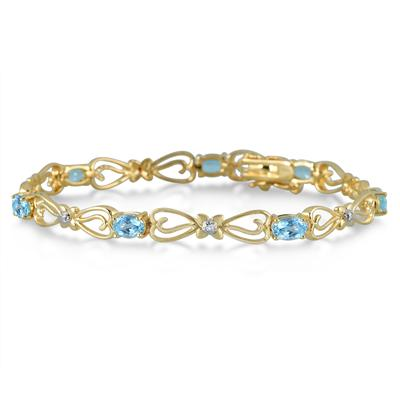 4 Carat Oval Blue Topaz and Diamond Bracelet in 18K Gold Plated Brass