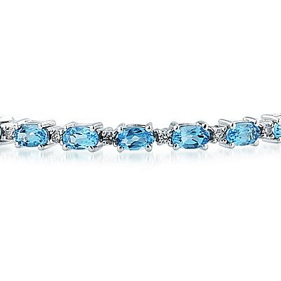 14k White Gold Diamond and Blue Topaz Bracelet