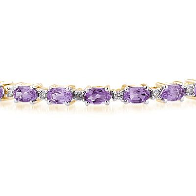 14k Yellow Gold Diamond and Amethyst  Bracelet