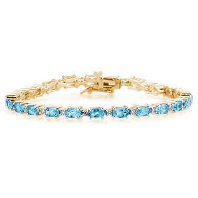 14k Yellow  Gold Diamond and Blue Topaz Bracelet