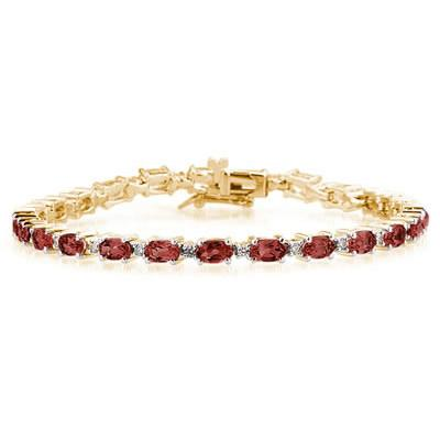 14k Yellow  Gold Diamond and Garnet   Bracelet