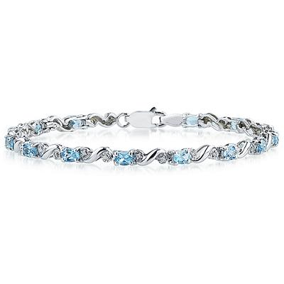 10k White Gold Diamond and Blue Topaz Bracelet