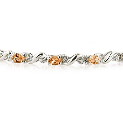10k White Gold Diamond and  Citrine   Bracelet