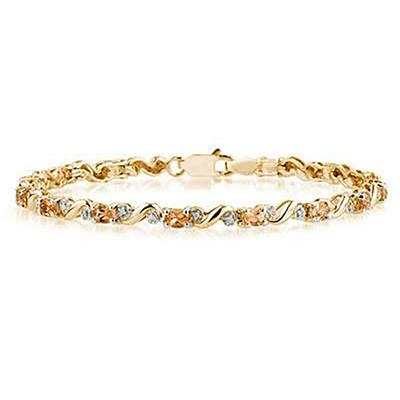 10k Yellow  Gold Diamond and  Citrine  Bracelet