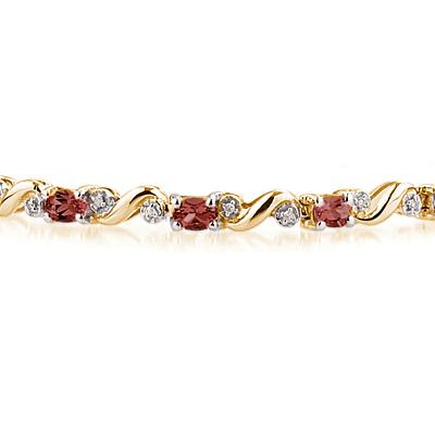 10k Yellow  Gold Diamond and  Garnet Bracelet