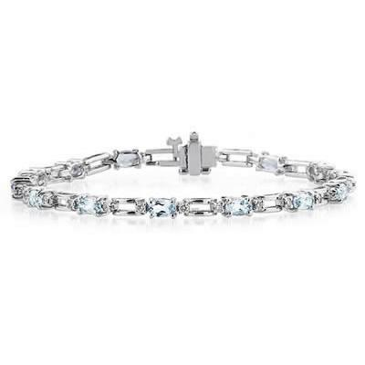 14k White Gold Diamond and Aquamarine Bracelet