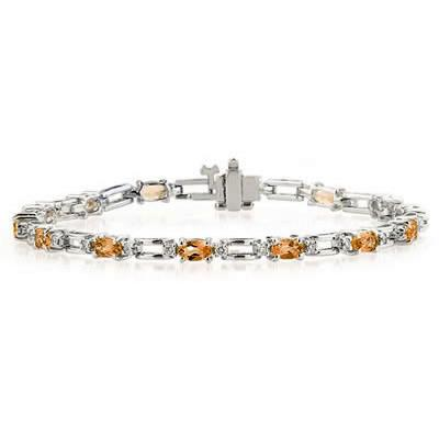 14k White Gold Diamond and  Citrine    Bracelet