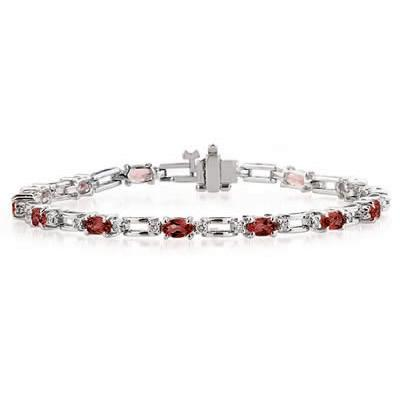 14k White Gold Diamond and Garnet  Bracelet