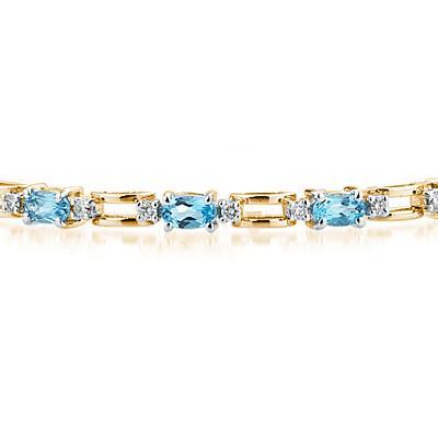 14k Yellow Gold Diamond and Blue Topaz Bracelet