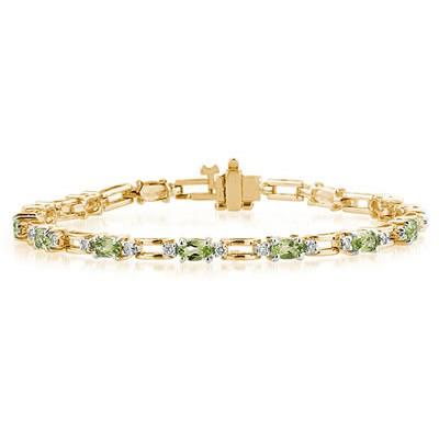 14k Yellow Gold Diamond and  Peridot  Bracelet