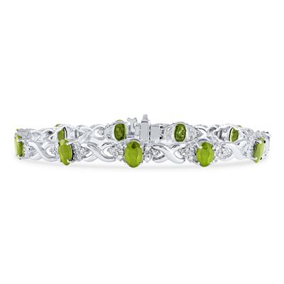 14k White Gold Diamond and  Peridot  Bracelet