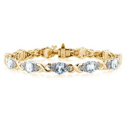 14k Yellow Gold Diamond and Aquamarine  Bracelet