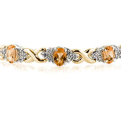 14k Yellow Gold Diamond and Citrine  Bracelet