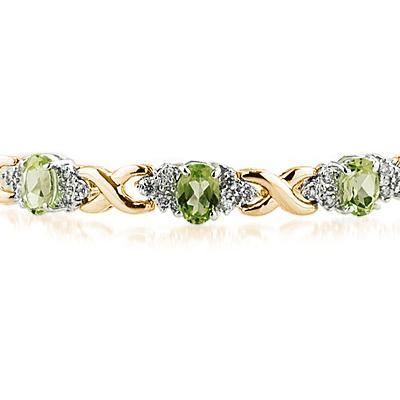 14k Yellow Gold Diamond and Peridot Bracelet