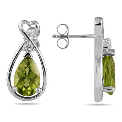 Pear Shaped Peridot & Diamond Earrings in White Gold
