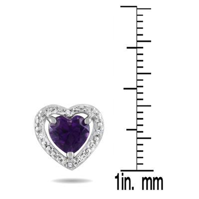 10k White Gold Amethyst and Diamond Heart Earrings