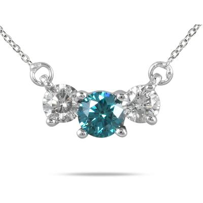1/2 Carat Blue and White Diamond Three Stone Pendant in 14K White Gold