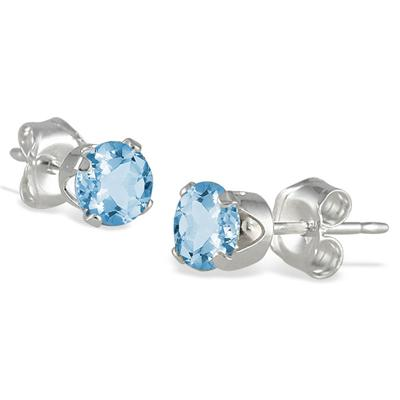 4MM All Natural Round Blue Topaz Stud Earrings in .925 Sterling Silver