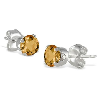 4MM All Natural Round November Citrine Stud Earrings in .925 Sterling Silver