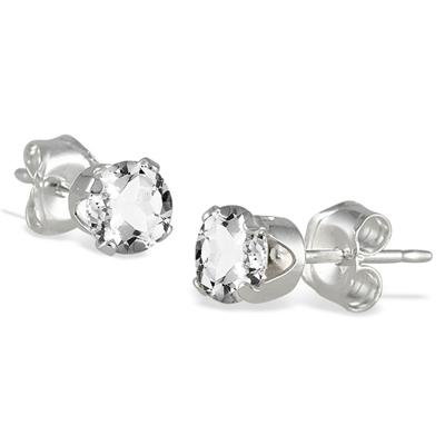 4MM All Natural Round White Topaz Stud Earrings in .925 Sterling Silver