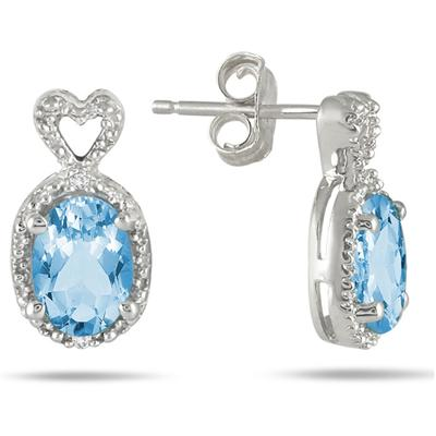 Swiss Blue Topaz and Diamond Heart Earrings in .925 Sterling Silver