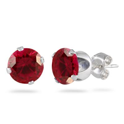 2.50 Carat Created 6MM Ruby Stud Earrings in .925 Sterling Silver